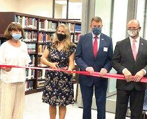 Pictured left to right: Beverly Walker, Alabama Career Center;  Dr Jessica Ross, director of the Washington County Public Library;  ADVA Commissioner Kent Davis and Shatom Mayor Harold Crouch.